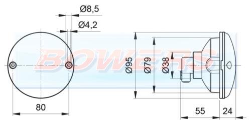 TAIL LIGHT LAMP ELDDIS BAILEY CARAVAN MOTORHOME JOKON 710 95mm ROUND REAR STOP