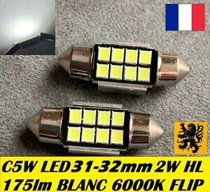 2-x-Navettes-C5W-C10W-LED-31mm-32mm-Fusible-175Lm-Blanc-pur-6500k-12V-2W