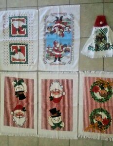 Lot of 6 Christmas Kitchen Terry Cloth Towels, Suitable to add Crochet Tops