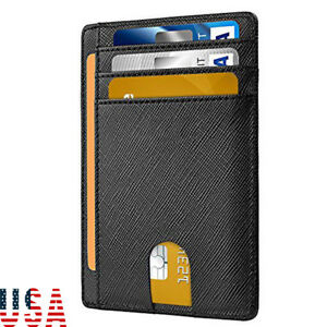 d5feb3d77093 Men's Leather Magnetic Money Clip Front Pocket Wallet ID Credit Card ...