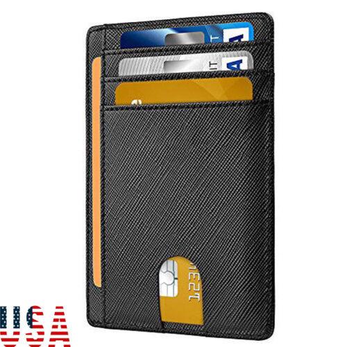 Men/'s Leather Slim Magnetic Money Clip Front Pocket Wallet ID Credit Card Holder
