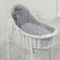 4baby Grey White Stars White Wicker Baby Moses Basket / Royal Pod & Mattress