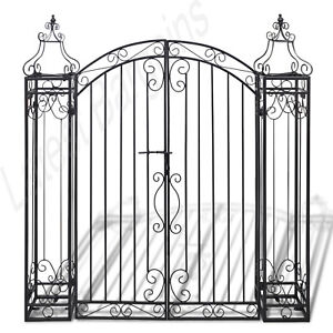 New-Ornamental-Gate-Wrought-Iron-Garden-Entry-Pathway-Fencing-Home-Black