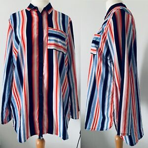 Woman's Multicoloured Pin Stripe Button Up Shirt Retro Blouse Pocket Size 18