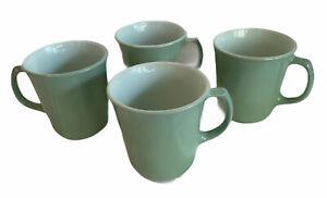Set-Of-4-RARE-Vintage-Pyrex-Sage-Green-Coffee-Mug-Cup-Corning-Ware