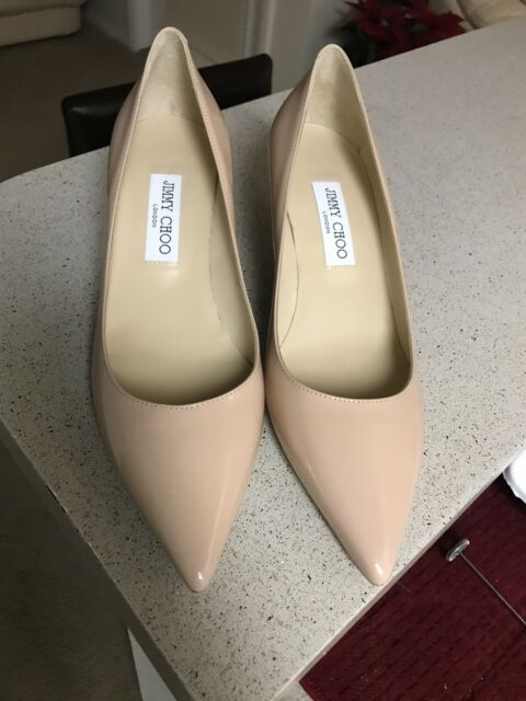 Jimmy Choo Aza Powder Pink Patent Leather Pump Low Kitten Heel Sz 40 US 9