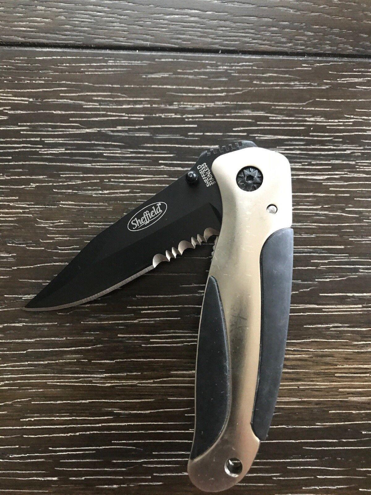 Sheffield Combination Folding Pocket Knife Liner Lock w/ Clip