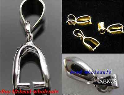 Silver/Golden Tone 18KGP Pinch Clip Bail Connector For Necklace DIY Accessorie
