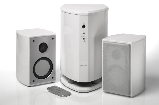 Cyrus audio tuned compact active 2.1 speaker system with usb and line in remote