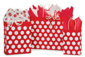 RED-POLKA-DOTS-Design-Party-Gift-Paper-Bag-ONLY-Choose-Size-amp-Pack-Amount