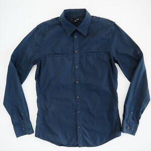 SABA-Mens-Navy-Blue-Pinstripe-Shirt-Size-S-100-Cotton-Slim-Fit-Long-Sleeve-EUC