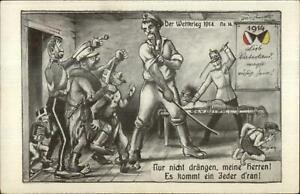 WWI-German-Propaganda-Satire-Comic-Anti-Serbia-amp-Belgium-1914-Postcard