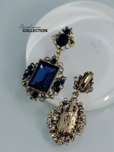 Boucles d`Oreilles Clips Doré Pendant Bleu Carré Foncé Vintage Class Original J1