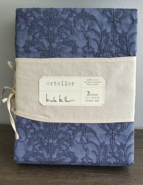 Nicole Miller King Duvet Cover 3 Pc Set, Nicole Miller Artelier Bedding Blue