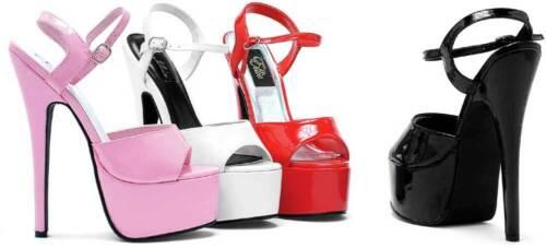 Platform Stilettos Open Toe Ankle Strap High Heels Shoes Women 652-JULIET-WHT