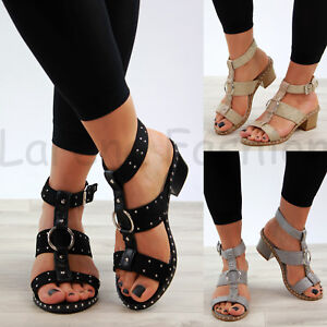 New-Womens-Mid-Block-Heel-Sandals-Studs-Peep-Toe-Buckle-Ankle-Strap-Comfy-Shoes