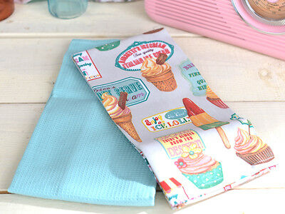 Set of 2 RETRO TREATS Cup Cakes COTTON TEA TOWEL By Creative Tops
