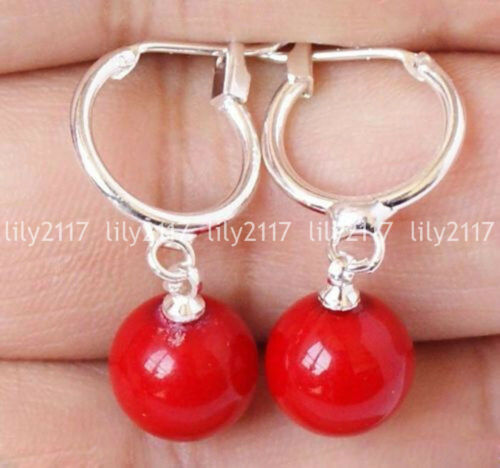Naturel rouge 10 mm Rond South Sea Shell Pearl Silver Leverback Dangle Boucle d/'oreille AAA