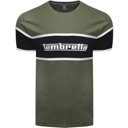 Lambretta Homme Panneau Logo décontracté en coton à manches courtes T-shirt homme à encolure ras-du-Cou Tee