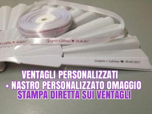 ares... 100 VENTAGLI ECONOMICI BIANCHI PERSONALIZZATI PER MATRIMONIO + OMAGGIO