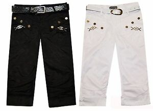 Magen-Kids-Girl-Fashion-Dressy-Black-White-Dance-Capri-Slim-fit-W-Belt-Sz-6-12