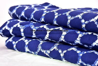 1 Yard Indigo Blue Ikat Print Cotton Fabric Hand Block Print Dabu Mud Fabric Art