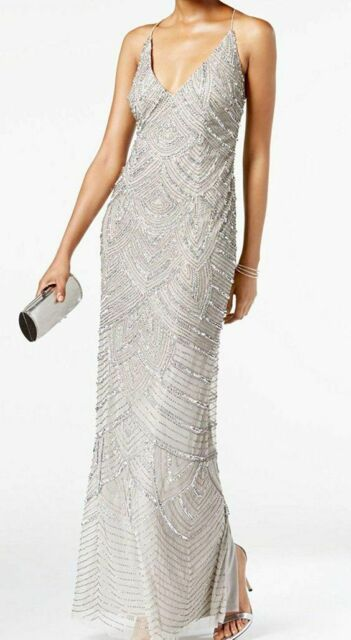 53b7012262831 Adrianna Papell Silver Beaded Embellished Sheath Dress Art Deco Size 6-14  NWT