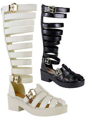 Ladies Women Knee High Cut Out Strappy Gladiator Summer Sandals Boots Shoes Size