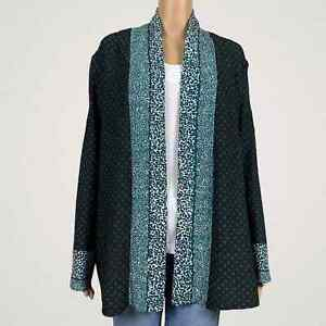 Chico's Travelers Crinkled Polka Dot Print Kimono Cardigan Jacket 2 LARGE 12 14