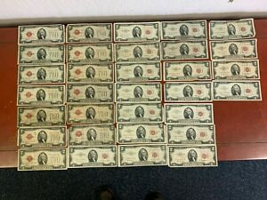 LOT OF (32) 13-1928,11-1953 & 8-1963 US $2 DOLLARS RED SEAL NOTES.