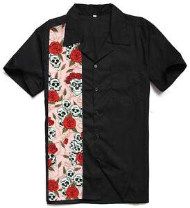 Mens-Skull-and-Roses-Retro-Bowling-Shirts-Rockabilly-Clothing-Plus-Size-Shirts