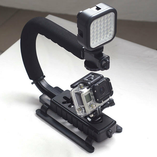 Stabilizing Handle with Portable Mini LED Light for Sport Camera