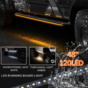 "2X 48/"" DRL Running Board//Step Bar//Turn Signal Switchback Led Light Amber//White"