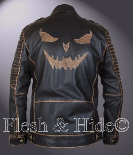 Leather Killing Hood W Squad Jacket Genuine Joker Suicide Removable Jared Leto AFAqd