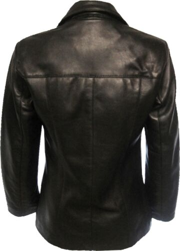 UNICORN LONDON Womens Classic Fitted Real Leather Blazer Brown Black #H9 //#H8