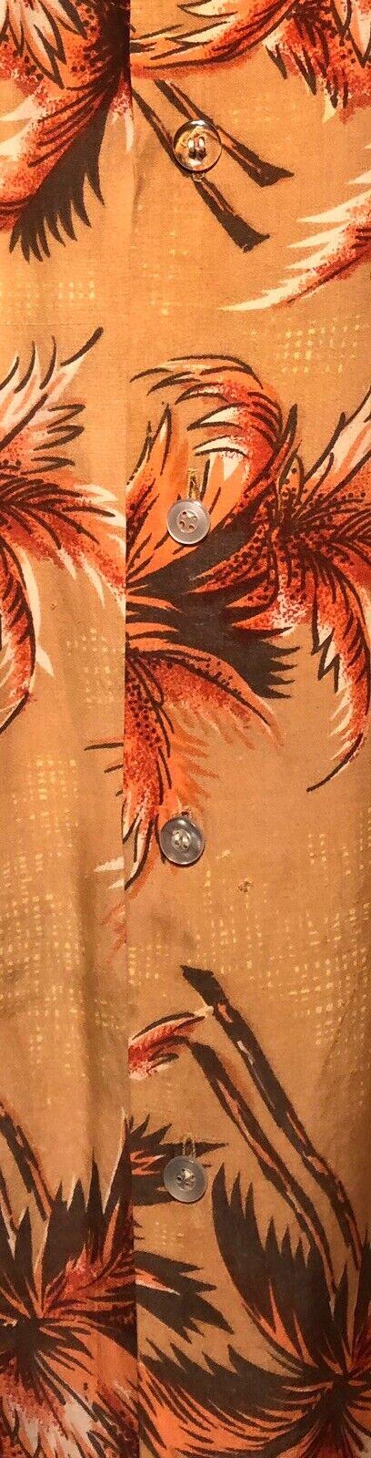 Vintage 1960's Aloha Light Orange Palm Trees Rayo… - image 8