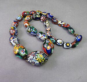 Art-Deco-Millefiori-Glass-Necklace-Beads-Short-strand-Flapper-Vintage