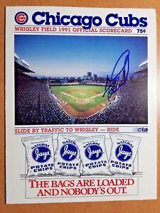 1991 Chicago Cubs Program Scorecard MIKE BIELECKI SIGNED, scored vs. SF GIANTS