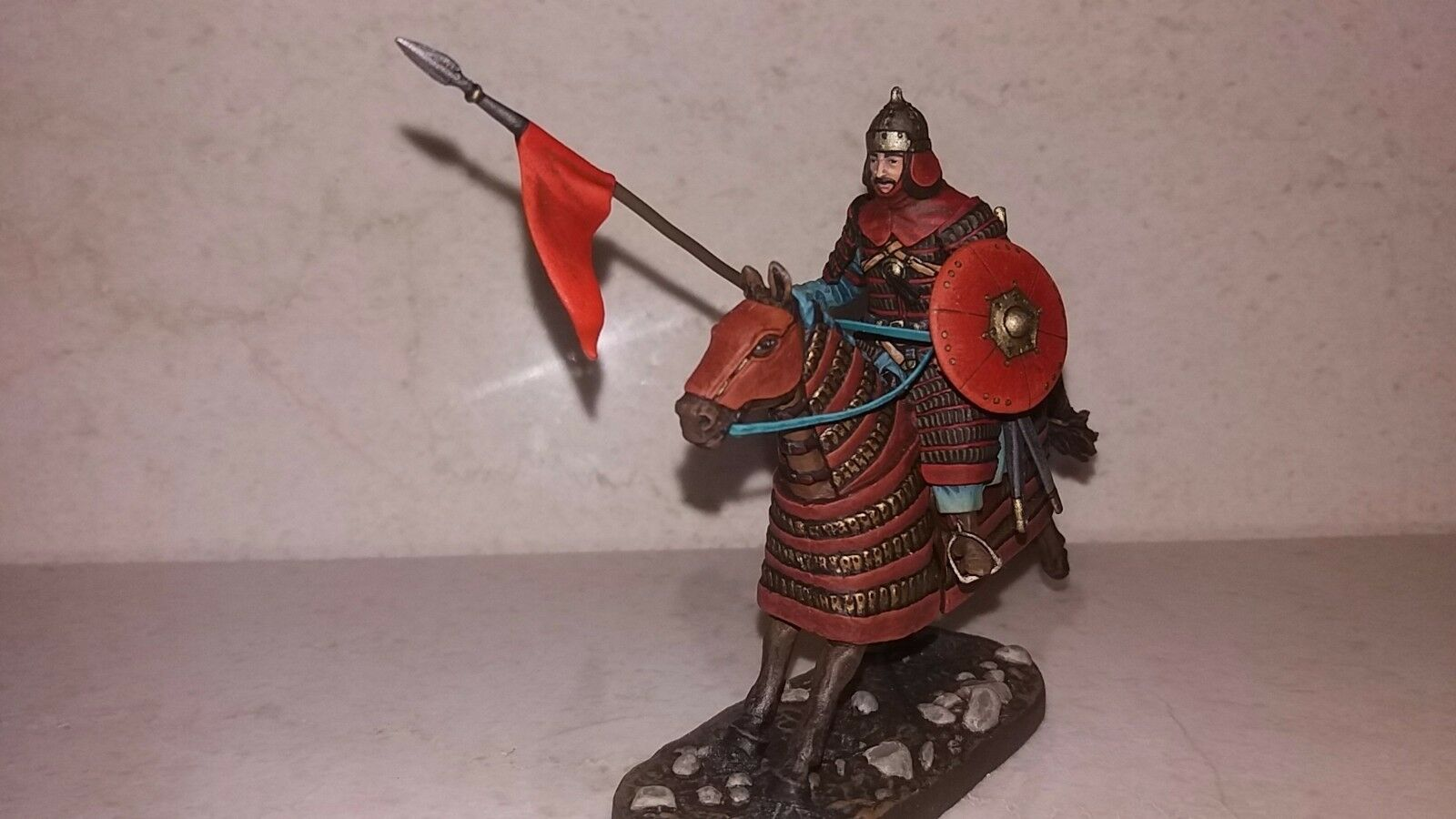 Lead soldier toy,Mongolian warrior,on the horse,collectable,rare,Elite painting