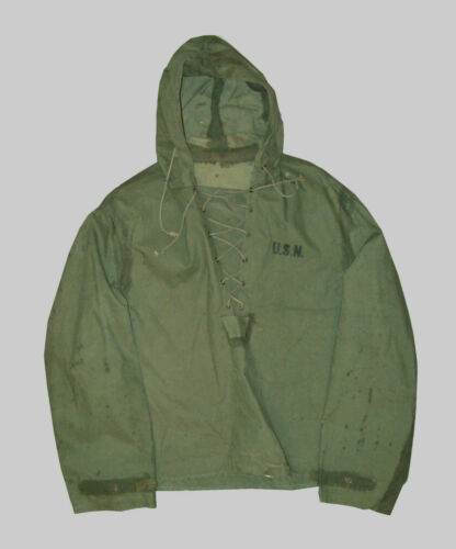 Vtg 1940's WWII USN NXsX Foul Weather Deck Hooded
