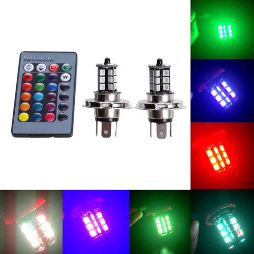 2X RGB remote control H4 5050 27SMD Color Changing Car LED Fog Light Bulb