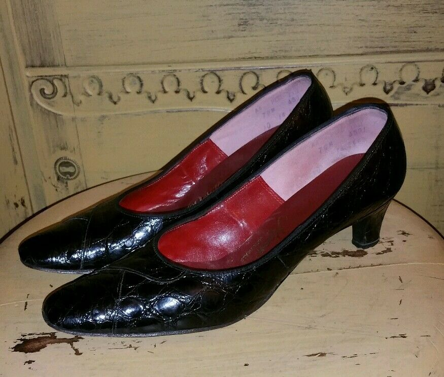 VINTAGE PUMPS 50'S DESIGNER ROOM REAL CROCODILE ALLIGATOR HEELS PUMPS VINTAGE Schuhe 7 N BLACK d91a32