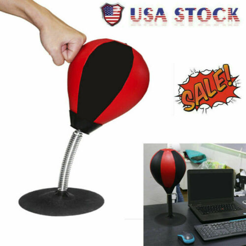 Desktop Punching Bag Stress Reliever Ball Suction Cup Stand Boxing Speed Desk US
