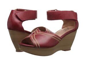 Miz-Mooz-Yasmina-Wedge-Sandals-In-Red-Leather-Brand-New-In-Box-6-5-37