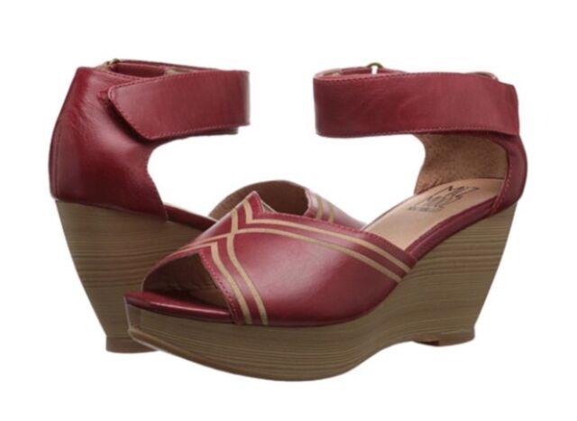 Miz Mooz Yasmina Wedge Sandals In Red Leather, Brand New In Box, 6.5/37