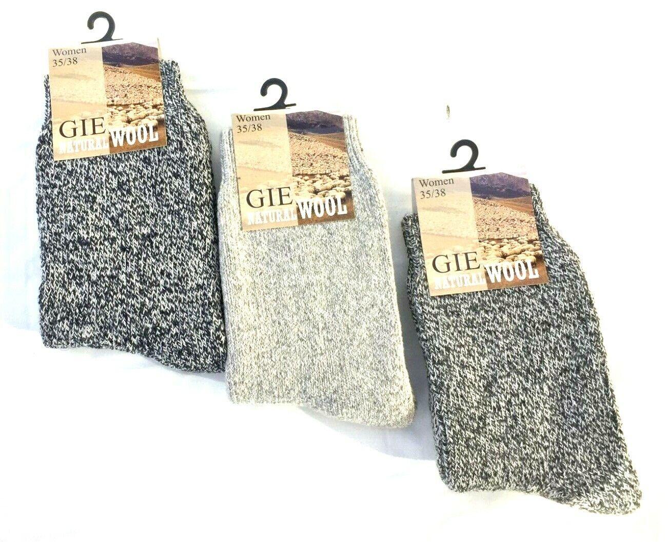 3 Paar Wollsocken Norweger Socken Strümpfe 90% Naturwolle Schafwolle 35-42 #121