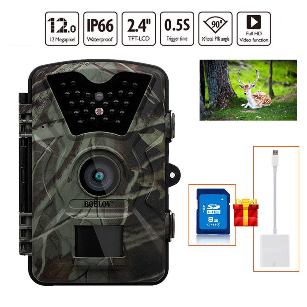 8GB 12MP  caza Scouting cámara Trail visión nocturna de Vida Silvestre + Lector De Luz-ning  compra limitada