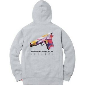 2ffed944ccd9 SUPREME Mendini Gun Hooded Sweatshirt Heather Grey L box logo camp ...