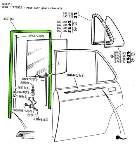 JAGUAR DAIMLER REAR DOOR WINDOW GLASS CHANNEL FELT XJ6 /& XJ12 SERIES 3 BAC1563