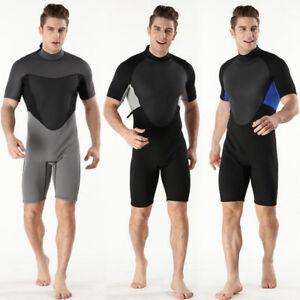 Herren-2MM-Jumpsuit-Tauchanzug-Surf-Wetsuit-Neoprenanzug-Kurzarm-S-2XL